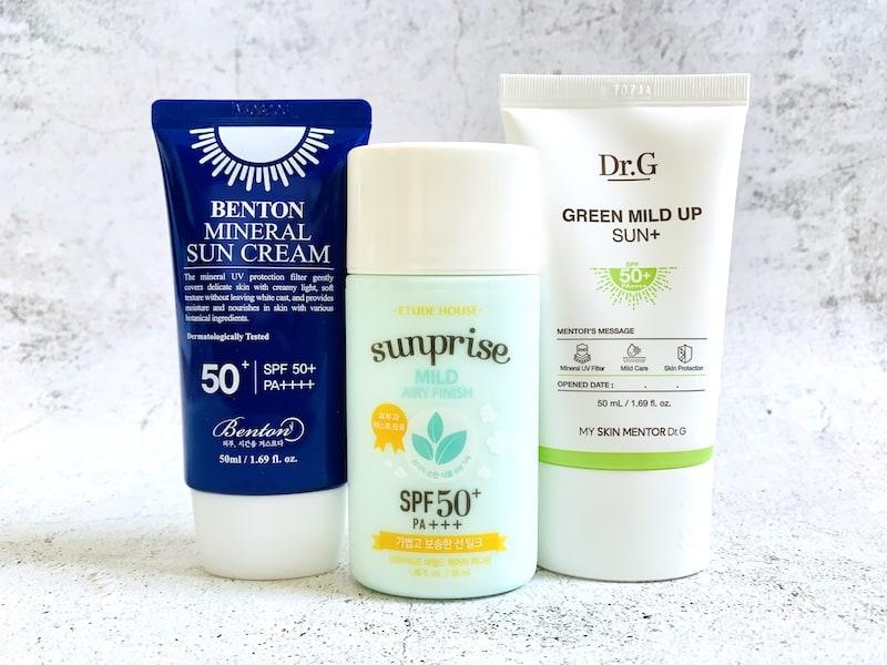 Benton Mineral Sun Cream SPF50+/PA++++, Etude House Sunprise Mild Airy Finish Sun Milk SPF50+ / PA+++ and Dr. G Green Mild Up Sun SPF50+/PA++++