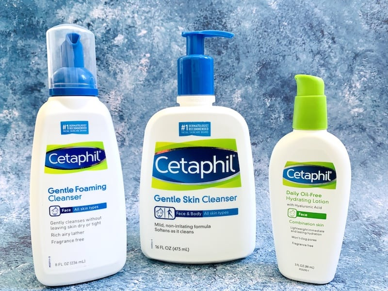 Cetaphil Gentle Foaming Cleanser, Gentle Skin Cleanser, and Daily Oil-Free Hydrating Lotion