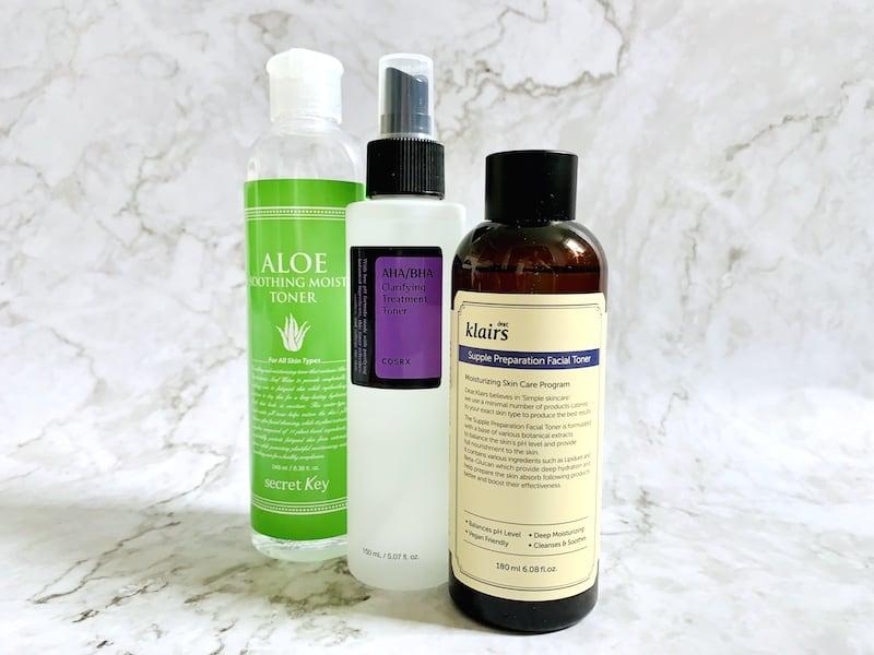 Secret Key Aloe Soothing Moist Toner, Cosrx AHA/BHA Clarifying Treatment Toner and Klairs Supple Preparation Facial Toner