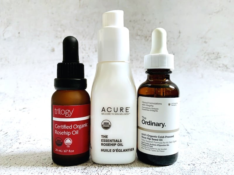 Trilogy Certified Organic Rosehip Oil, Acure The Essentials Rosehip Oil and The Ordinary 100% Organic Cold-Pressed Rose Hip Seed Oil