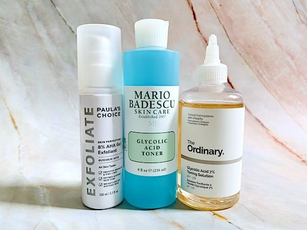 Paula's Choice 8% AHA Gel Exfoliant, Mario Badescu Glycolic Acid Toner, and The Ordinary Glycolic Acid 7% Toning Solution