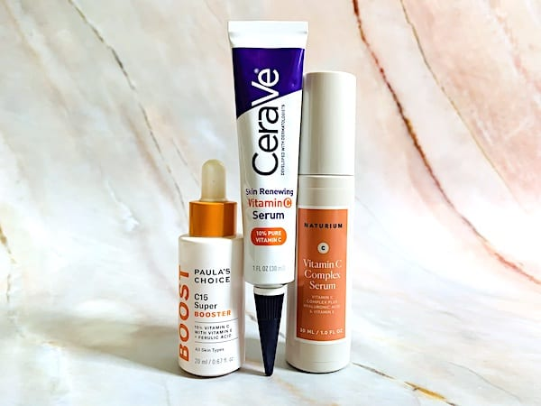 Paula's Choice C15 Vitamin C Booster Serum, VeraVe Skin Renewing Vitamin C Serum and Naturium Vitamin C Complex Serum