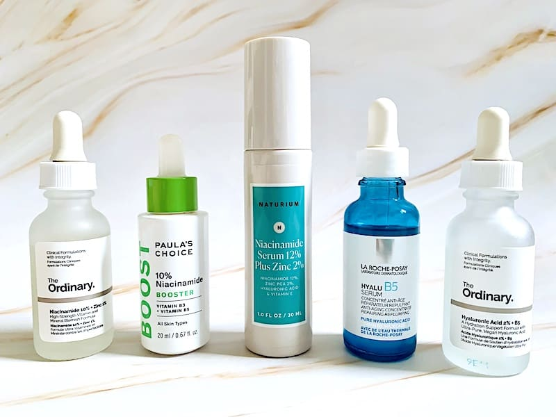 Niacinamide and Hyaluronic Acid Serums from The Ordinary, Paula's Choice, Naturium and La Roche-Posay