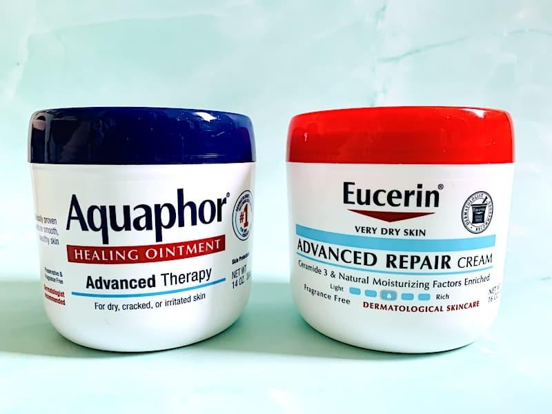 Aquaphor vs Eucerin: Aquaphor Healing Ointment and Eucerin Advanced Repair Cream