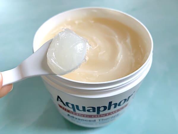 Aquaphor Healing Ointment sampled on spatula